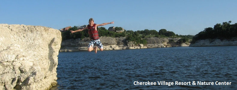 Jumping from the cliffs at Lake Whitney, Texas